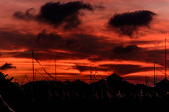 Por do sol vermelho em Bali Fotografia de Stock Royalty Free