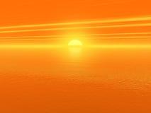 Por do sol vermelho sangrento sobre a água 3d do oceano rendida Imagens de Stock