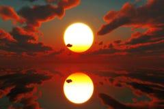 Por do sol vermelho sobre o mar ilustração do vetor