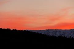 Por do sol, vista da montanha de Maiella, Abruzzo, Itália Fotos de Stock