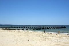Por do sol visto do molhe, Busselton, WA, Austrália imagens de stock