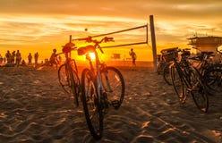Por do sol volleybal Fotos de Stock Royalty Free