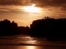 Por do sol Warrnambool Austrália do rio de Hopkins Foto de Stock