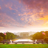 Por do sol Washington Dc de Abraham Lincoln Memorial Fotografia de Stock