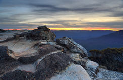 Por do sol Wentworth Falls Fotos de Stock Royalty Free