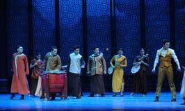 Por el tercer acto invasor del ejército del músico- japonés de la tensión de los eventos del drama-Shawan de la danza del pasado Imagen de archivo