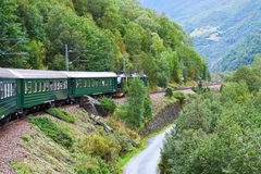 Por el tren a través de las montañas escandinavas Fotografía de archivo