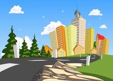 Por naturaleza paisaje rodeado ciudad libre illustration