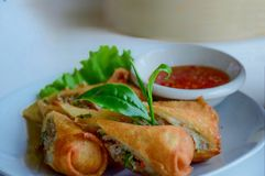 Por Pieer Tod Thai Spring Roll , Deep fried spring roll in Tea and food shop stock photos