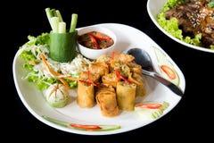 Por Pieer Tod Thai Spring Roll med thai sås Royaltyfria Foton