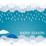 Pora deszczowa parasola pławik na niebo wektorze Zdjęcie Stock