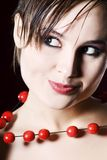 Poratrait of woman. With beads Royalty Free Stock Photo
