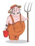 Porc-agriculteur de bande dessinée de vecteur Photo libre de droits