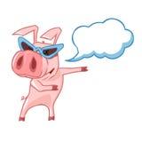 Porc avec des verres avec un nuage de légende Photographie stock