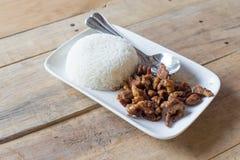porc avec du riz d'ail et de jasmin Photo stock