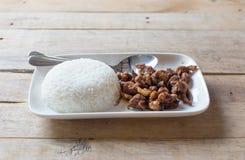 porc avec du riz d'ail et de jasmin Images libres de droits