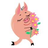 Porc avec le bouquet de l'illustration de fleurs Photographie stock libre de droits