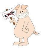Porc avec le masque protecteur et plaquette A/H1N1 dans la main. Photographie stock