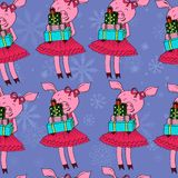 Porc avec le modèle de cadeaux illustration de vecteur