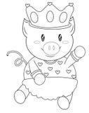 Porc avec une page de coloration de couronne Images stock