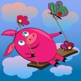 Porc balançant en ciel avec clouds.s Photos libres de droits