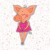 Porc coloré mignon de bande dessinée dans la robe rose Photos libres de droits