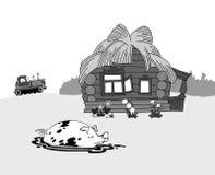 Porc contre la construction rurale illustration libre de droits