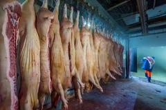 Porc coupé à une usine photos libres de droits
