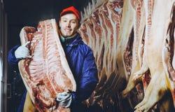 Porc coupé à une usine photographie stock libre de droits