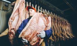 Porc coupé à une usine image libre de droits