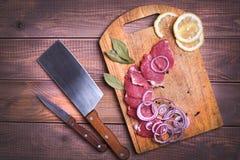 Porc coupé en tranches de viande crue Photo libre de droits