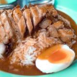 Porc croustillant rôti avec du riz Images libres de droits