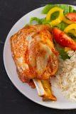 Porc cuit au four avec du riz Photo libre de droits