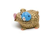 Porc d'or d'argent Image libre de droits