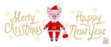Porc dans le rôle de Santa Claus dans un équipement de vacances illustration libre de droits