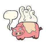 porc de bande dessinée avec la bulle de la parole Image libre de droits