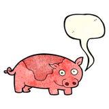 porc de bande dessinée avec la bulle de la parole Photo libre de droits