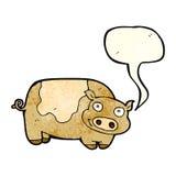 porc de bande dessinée avec la bulle de la parole Images libres de droits