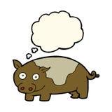 porc de bande dessinée avec la bulle de pensée Image stock