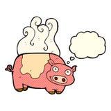 porc de bande dessinée avec la bulle de pensée Image libre de droits