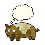 porc de bande dessinée avec la bulle de pensée Images libres de droits
