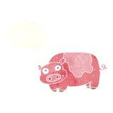porc de bande dessinée avec la bulle de pensée Photographie stock