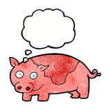 porc de bande dessinée avec la bulle de pensée Photos libres de droits