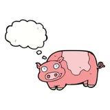 porc de bande dessinée avec la bulle de pensée Photo stock