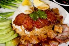 Porc de BBQ et porc croustillant avec du riz Photographie stock