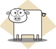 Porc de dessin animé en noir et blanc Image stock
