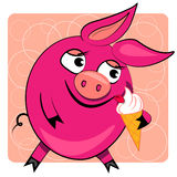 Porc de dessin animé mangeant la crême glacée. illustration Images libres de droits