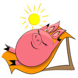 Porc de dessin animé sur la plage. animal de ferme Photo libre de droits