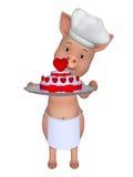 porc de la bande dessinée 3d avec un beau gâteau Photo libre de droits