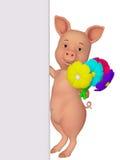 porc de la bande dessinée 3d avec un conseil vide et des fleurs Image stock